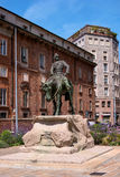 Milan, Italy - May 25, 2016: Equestrian statue of Giuseppe Missori -1829-1911-, Italian military leader, Garibaldi follower. Piazz Royalty Free Stock Photo