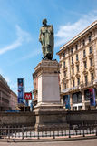 Milan, Italy - May 25, 2016: Giuseppe Parini statue in Milan Dante street. Royalty Free Stock Photos