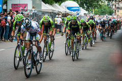 Milan, Italy 31 May  2015; Group of Professional Cyclists in Milan accelerate and prepare the final sprint Stock Photos