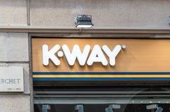 K-Way logo at galleria Vittorio Emanuele II. Stock Photos