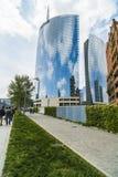 MILAN ITALY-MAY 13, 2017: panoramautsikt av det nya futuristiskt Arkivbilder