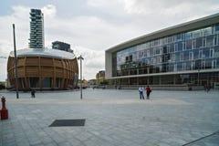 MILAN ITALY-MAY 13, 2017: panoramautsikt av det nya futuristiskt Arkivbild