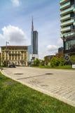 MILAN ITALY-MAY 13, 2017: panoramautsikt av det nya futuristiskt Fotografering för Bildbyråer