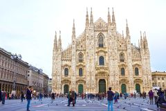 Milan, Italy - May 03, 2017: The people going at Duomo square in Milan. Royalty Free Stock Images