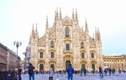 Milan, Italy - May 03, 2017: The people going at Duomo square in Milan. Stock Photography