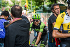 Milan, Italy 31 May  2015; Professional Cyclist tired in Milan after concluding Giro D'Italia Royalty Free Stock Photos