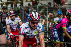 Milan, Italy 31 May  2015; Professional Cyclist tired in Milan after concluding Giro D'Italia Royalty Free Stock Image