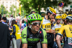 Milan, Italy 31 May  2015; Professional Cyclist tired in Milan after concluding Giro D'Italia Stock Photo