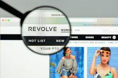 Milan, Italy - May 7, 2017: Revolve website homepage. It's a fas. Hion e-commerce store Royalty Free Stock Photography
