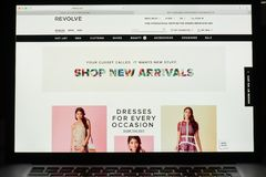 Milan, Italy - May 7, 2017: Revolve website homepage. It& x27;s a fas. Milan, Italy - May 7, 2017: Revolve website homepage. It& x27;s a fashion e-commerce Stock Images