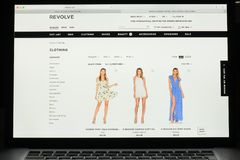 Milan, Italy - May 7, 2017: Revolve website homepage. It's a fas. Hion e-commerce store Royalty Free Stock Image