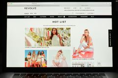 Milan, Italy - May 7, 2017: Revolve website homepage. It& x27;s a fas. Milan, Italy - May 7, 2017: Revolve website homepage. It& x27;s a fashion e-commerce Royalty Free Stock Images