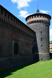 Milan, Italy may 23 2014: Sforza castle  nord-east tower Stock Photography