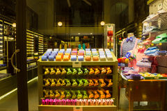 Milan, Italy - May 03, 2017: The shop with colorful italian ties Royalty Free Stock Image