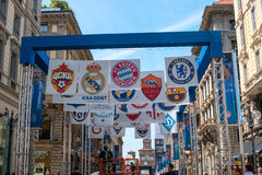 Milan, Italy - May 25, 2016: UEFA Champions League 2016 Real Madrid-Atletico Madrid play in the final. The streets are decorated w Royalty Free Stock Photo