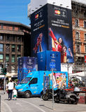 Milan, Italy - May 25, 2016: UEFA Champions League 2016 Real Madrid-Atletico Madrid play in the final. The streets are decorated w Royalty Free Stock Image