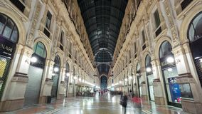 MILAN, ITALY - MAY 3: View of Galleria Vittorio Emanuele II. Most popular shopping areas in Milan. MILAN, ITALY - MAY 3: Unique view of Galleria Vittorio stock video footage