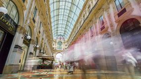 MILAN, ITALY - MAY 3: View of Galleria Vittorio Emanuele II. Most popular shopping areas in Milan. MILAN, ITALY - MAY 3: Unique view of Galleria Vittorio stock video