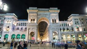 MILAN, ITALY - MAY 3: View of Galleria Vittorio Emanuele II. Most popular shopping areas in Milan. MILAN, ITALY - MAY 3, 2017: Unique view of Galleria Vittorio stock footage