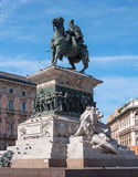 Milan, Italy - May 25, 2016: View of Vittorio Emanuele II monument. Royalty Free Stock Images