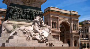 Milan, Italy - May 25, 2016: View of Vittorio Emanuele II monument. Royalty Free Stock Image