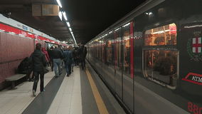 Milan, Italy Metro Coach in platform with passengers. stock video