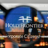 Milan, Italy - November 1, 2017: Holly Frontier logo on the webs. Ite homepage Stock Image