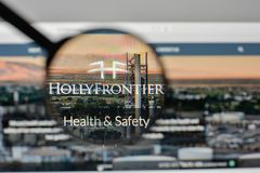 Milan, Italy - November 1, 2017: Holly Frontier logo on the webs. Ite homepage Royalty Free Stock Photography