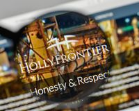 Milan, Italy - November 1, 2017: Holly Frontier logo on the webs. Ite homepage Royalty Free Stock Photo