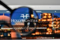 Milan, Italy - November 1, 2017: Holly Frontier logo on the webs. Ite homepage Royalty Free Stock Image