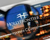 Milan, Italy - November 1, 2017: Holly Frontier logo on the webs. Ite homepage Stock Photography