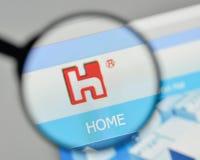 Milan, Italy - November 1, 2017: Hon Hai Precision Industry logo. On the website homepage royalty free stock photo