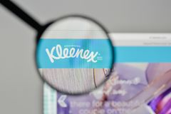 Milan, Italy - November 1, 2017: Kleenex logo on the website hom. Epage Royalty Free Stock Photo