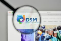 Milan, Italy - November 1, 2017: Koninklijke DSMNV DSM logo on t. He website homepage stock photography