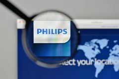 Milan, Italy - November 1, 2017: Koninklijke Philips NV logo on. The website homepage Stock Images