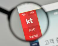 Milan, Italy - November 1, 2017: KT Korea Telecom Corp logo on t. He website homepage Royalty Free Stock Photography