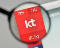 Milan, Italy - November 1, 2017: KT Korea Telecom Corp logo on t. He website homepage Royalty Free Stock Photos
