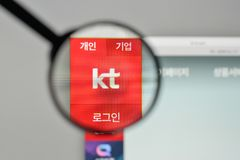 Milan, Italy - November 1, 2017: KT Korea Telecom Corp logo on t. He website homepage Royalty Free Stock Images