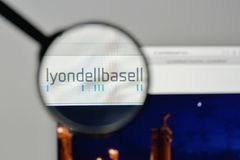 Milan, Italy - November 1, 2017: Lyondell Basell Industries logo. On the website homepage Stock Image