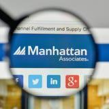 Milan, Italy - November 1, 2017: Manhattan Associates logo on th. E website homepage Royalty Free Stock Photo
