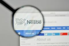Milan, Italy - November 1, 2017: Nestle logo on the website home. Page Royalty Free Stock Image