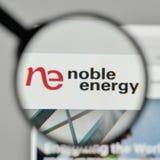Milan, Italy - November 1, 2017: Noble Energy logo on the websit. E homepage Stock Photos