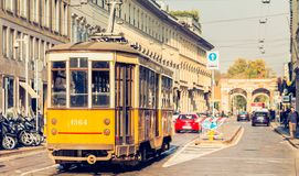 Old yellow tram of the public transport company of the city of M Stock Photography