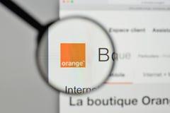 Milan, Italy - November 1, 2017: Orange telecom french logo on t. He website homepage Royalty Free Stock Photos