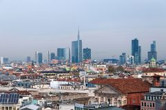 MILAN, ITALY - NOVEMBER 9, 2016: Panoramic view of Milan business district from the observation deck Duomo di Milano. Stock Images