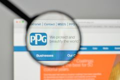 Milan, Italy - November 1, 2017: PPG Industries logo on the webs. Ite homepage Stock Photo