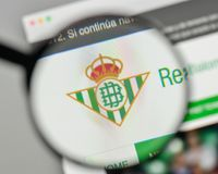 Milan, Italy - November 1, 2017: Real Betis logo on the website. Homepage stock photography