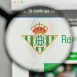 Milan, Italy - November 1, 2017: Real Betis logo on the website. Homepage royalty free stock image
