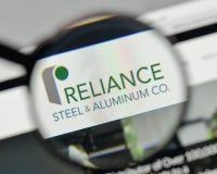 Milan, Italy - November 1, 2017: Reliance Steel & Aluminum logo. Milan, Italy - November 1, 2017: Reliance Steel & Aluminum logo on the website homepage Stock Photos