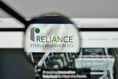 Milan, Italy - November 1, 2017: Reliance Steel & Aluminum logo. Milan, Italy - November 1, 2017: Reliance Steel & Aluminum logo on the website homepage Royalty Free Stock Photos